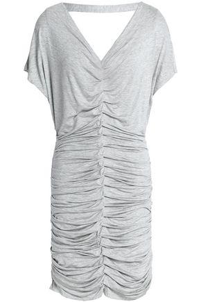 4836395215c BAILEY44 Woman Ruched Cutout Jersey Mini Dress Light Gray ...