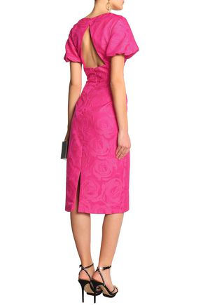 MIKAEL AGHAL Cutout brocade midi dress