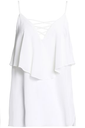 BAILEY 44 Lace-up layered silk crepe de chine and jersey camisole