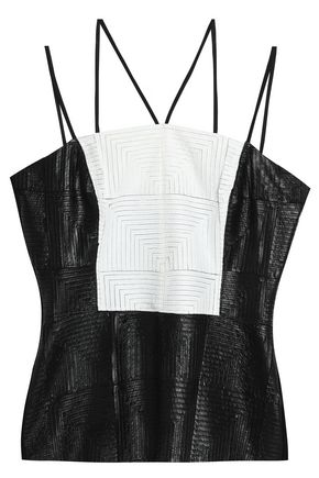BAILEY 44 Faux leather and jersey top