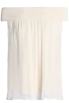 BAILEY 44 Off-the-shoulder layered silk-georgette and stretch-jersey top