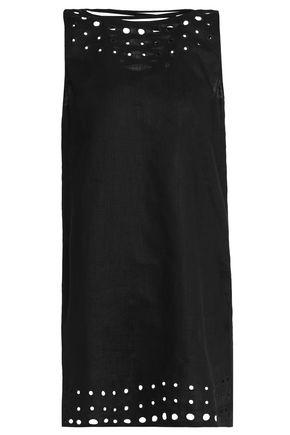 BAILEY 44 Lace-up eyelet-embellished linen mini dress