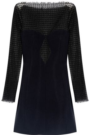 ALEXANDER WANG Open knit-paneled crepe mini dress