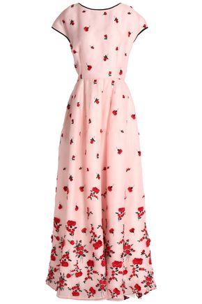 OSCAR DE LA RENTA Floral-appliquéd embroidered silk-organza gown