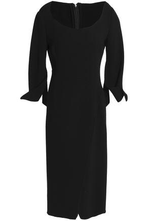 OSCAR DE LA RENTA Crossover wool-blend crepe dress