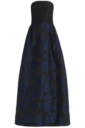 OSCAR DE LA RENTA Strapless fil coupé silk-faille gown