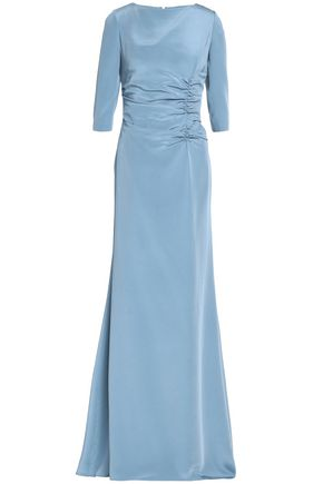 OSCAR DE LA RENTA Ruched neon silk-satin maxi dress