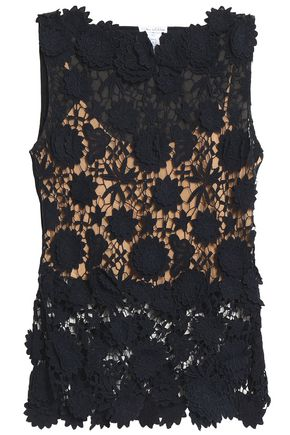 OSCAR DE LA RENTA Cotton guipure lace top