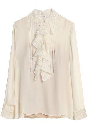 OSCAR DE LA RENTA Ruffle-trimmed silk-crepe blouse