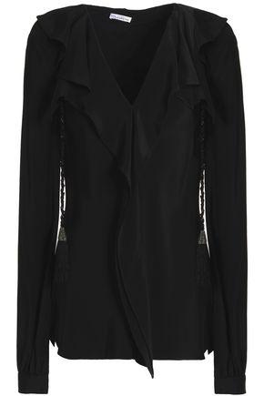 OSCAR DE LA RENTA Tasseled ruffle-trimmed silk top