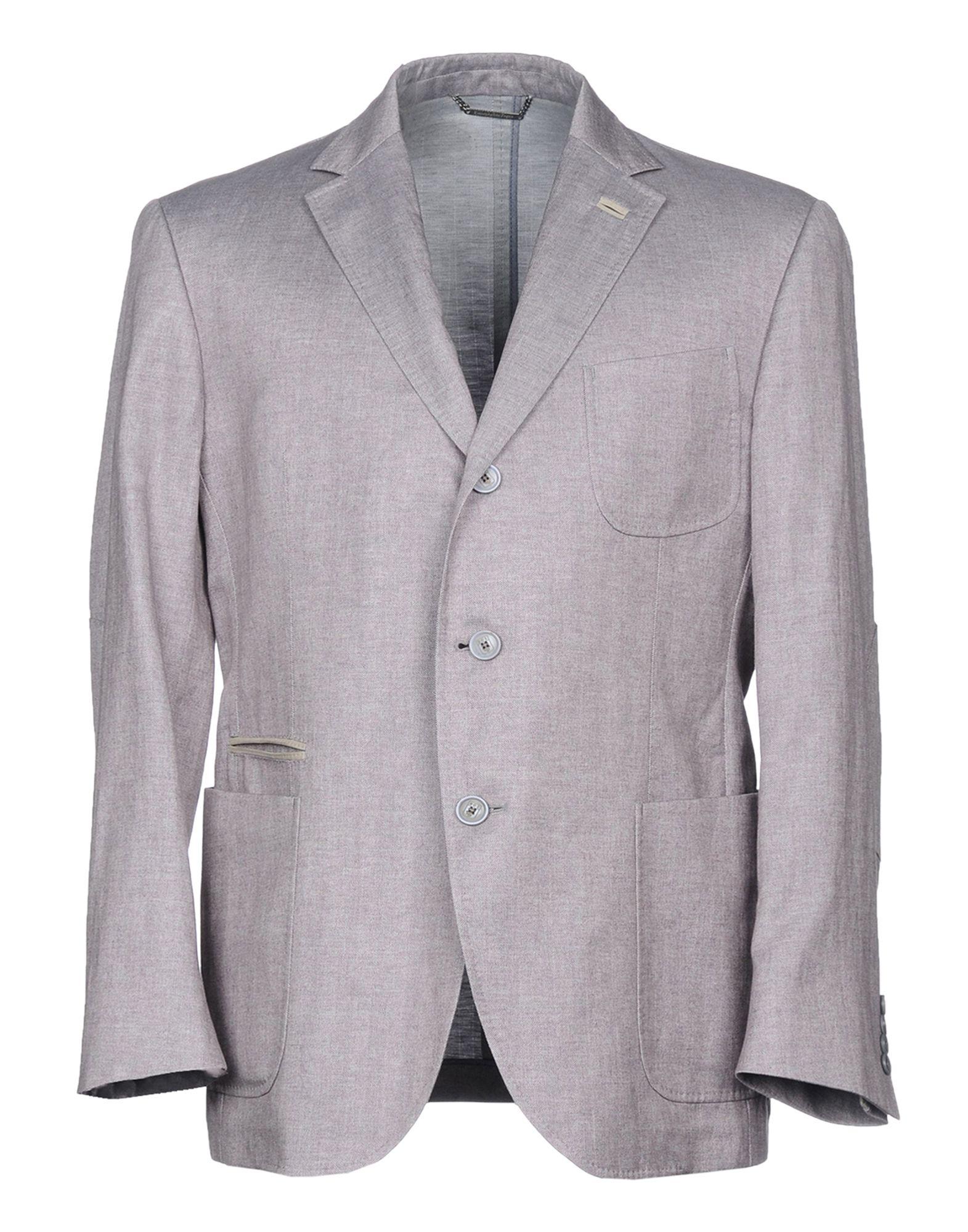 《送料無料》ERMENEGILDO ZEGNA メンズ テーラードジャケット パープル 58 コットン 52% / 麻 48% / 革