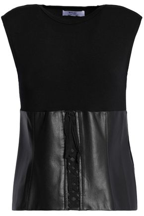 BAILEY 44 Lace-up faux leather-paneled stretch-jersey top