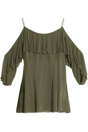 BAILEY 44 Cold-shoulder ruffle-trimmed modal-jersey top