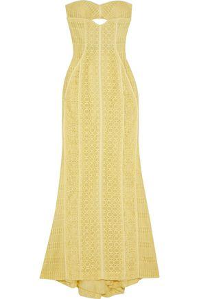 J.MENDEL Strapless cutout cotton-blend corded lace gown