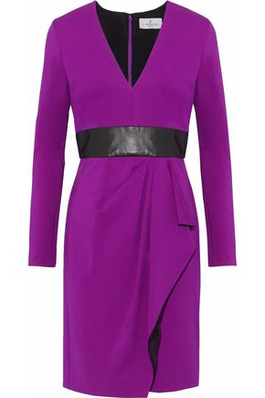 J.MENDEL Wrap-effect leather-trimmed jersey dress