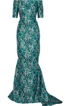 J.MENDEL Off-the-shoulder metallic jacquard gown