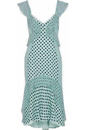 J.MENDEL Ruffled polka-dot silk-chiffon dress