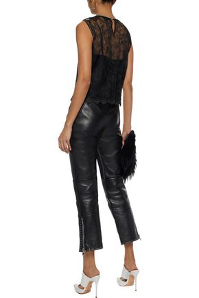 ALEXANDER WANG Satin-paneled chain-embellished plissé lace top
