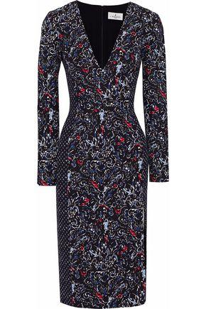 J.MENDEL Camellia printed silk-blend crepe dress