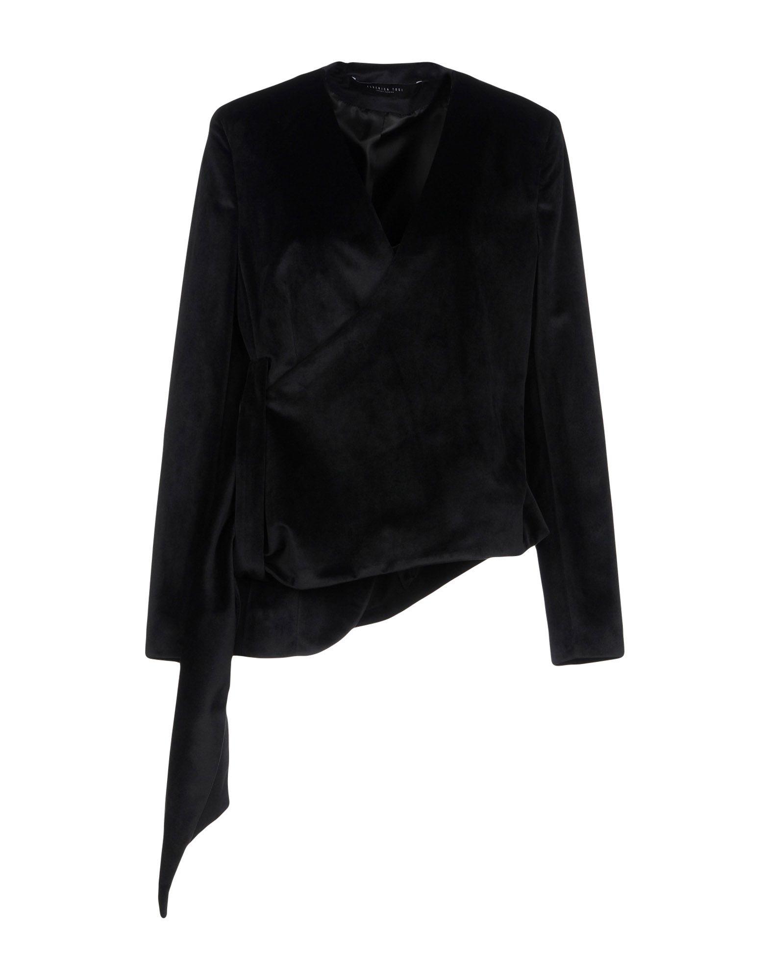 《送料無料》FEDERICA TOSI レディース テーラードジャケット ブラック 42 ポリエステル 100%