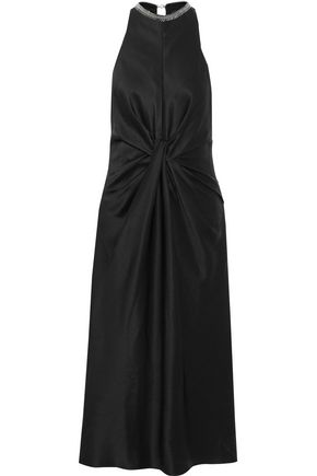 ALEXANDER WANG Knotted chain-embellished satin midi dress