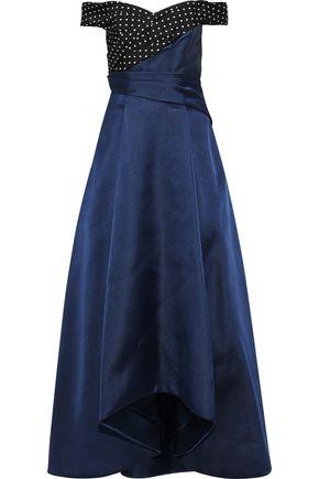 J.MENDEL Off-the-shoulder polka dot-paneled silk-blend satin-faille gown