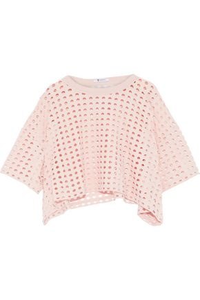 T by ALEXANDER WANG Cropped laser-cut jersey top