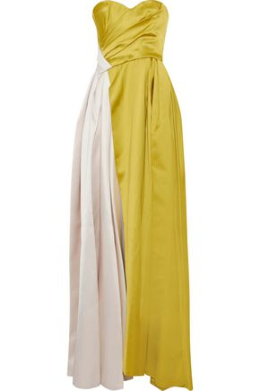J.MENDEL Strapless gathered two-tone silk-satin gown