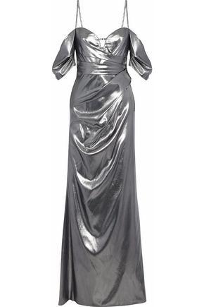 J.MENDEL Cold-shoulder ruched silk-lamé gown