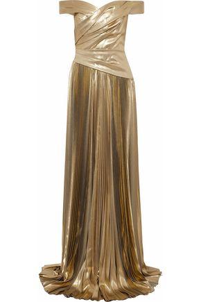 J.MENDEL Off-the-shoulder gathered plissé silk-lamé gown