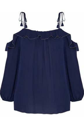 JOIE Eukene cold-shoulder ruffled silk crepe de chine top