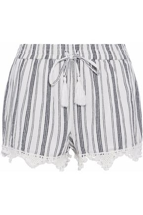 JOIE Angelle tasseled crochet-trimmed striped cotton-gauze shorts