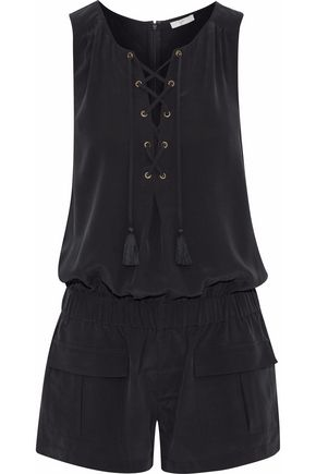 JOIE Caline lace-up washed-silk playsuit