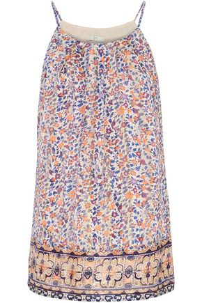 JOIE Metallic floral-print silk-chiffon top