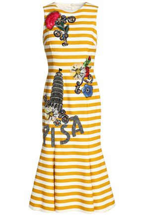 DOLCE & GABBANA Cutout appliquéd striped cotton-blend dress