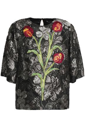 DOLCE & GABBANA Floral-appliquéd brocade top