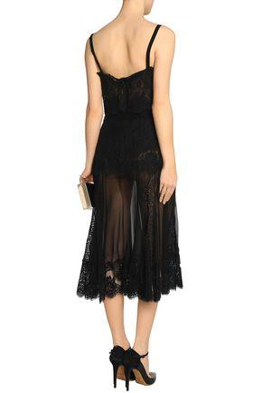 DOLCE & GABBANA Lace-paneled silk-blend chiffon slip dress