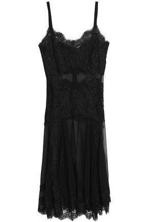 DOLCE & GABBANA Lace-paneled silk-blend chiffon slip dress