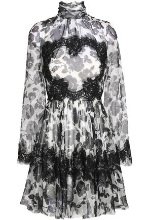 DOLCE & GABBANA Lace-trimmed floral-print silk-blend chiffon mini dress