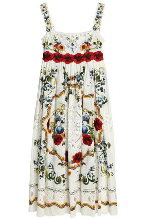 DOLCE & GABBANA Embroidered printed cotton-poplin midi dress