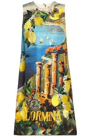 DOLCE & GABBANA Paneled embellished printed silk-crepe dress