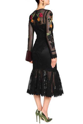 DOLCE & GABBANA Floral-appliquéd lace-trimmed mesh midi dress