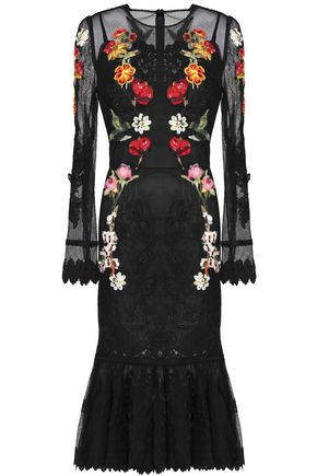 DOLCE & GABBANA Floral-appliquéd lace-trimmed mesh midi dress