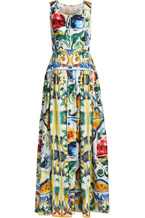 DOLCE & GABBANA Pleated printed silk gown