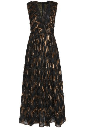 DOLCE & GABBANA Brocade-paneled metallic fil coupé silk-blend chiffon midi dress