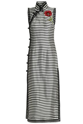 DOLCE & GABBANA Appliquéd striped silk-satin twill midi dress