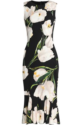 DOLCE & GABBANA Fluted floral-print stretch-silk dress