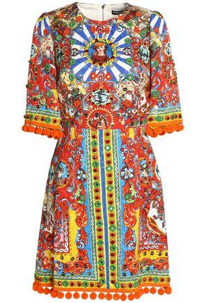 DOLCE & GABBANA Embellished printed jacquard dress