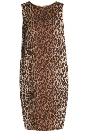 DOLCE & GABBANA Leopard-print wool and silk-blend jacquard dress