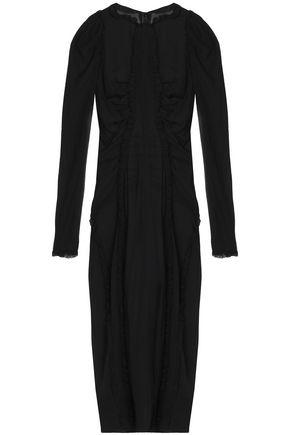 DOLCE & GABBANA Lace-trimmed silk-blend chiffon mini dress